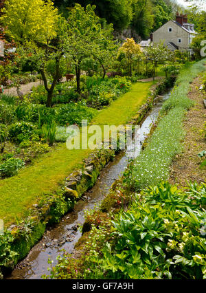 Canal in the Cascades Garden at Bonsall near Matlock in the Derbyshire Dales Peak District England UK - Stock Photo