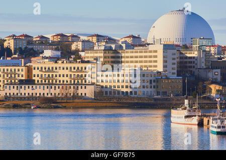 Hammarby Sjostad eco neighbourhood with Ericsson Globe Arena Stockholm Sweden Scandinavia - Stock Photo