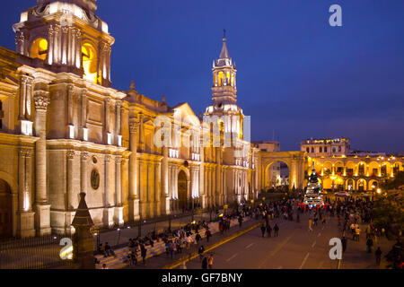 Basilica Cathedral of Arequipa located in the Plaza de Armas, Arequipa, Peru, South America - Stock Photo