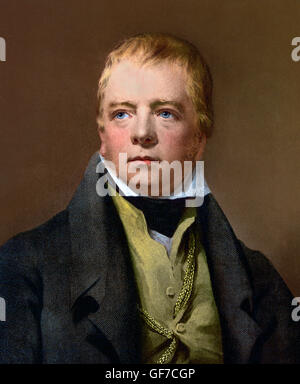 The Scottish novelist, Sir Walter Scott (1771–1832). Photomechanical print, c,1890-1900, from a painting by Henry - Stock Photo