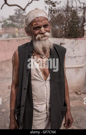 Indian holy men around the streets of Radha Kund village near Vrindavan, Uttar Pradesh, India - Stock Photo