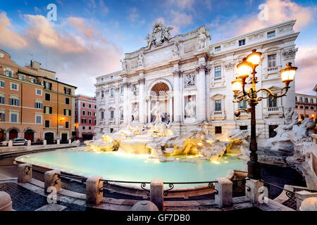 Trevi Fountain, the largest Baroque fountain in the city and one of the most famous fountains in the world located - Stock Photo