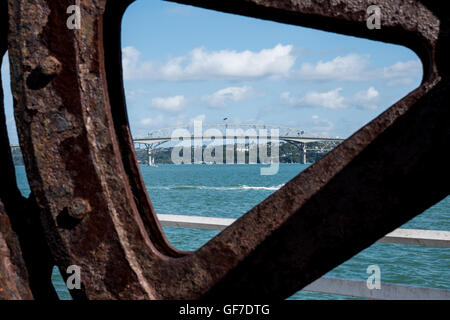 Auckland Harbour Bridge, North Island New Zealand. - Stock Photo