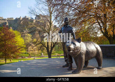 Statue Of Wojtek The Polish War Bear Princes Street Gardens, Edinburgh,  Scotland.