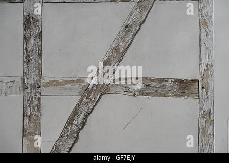 closeup of the wall of an old half-timbered house - Stock Photo