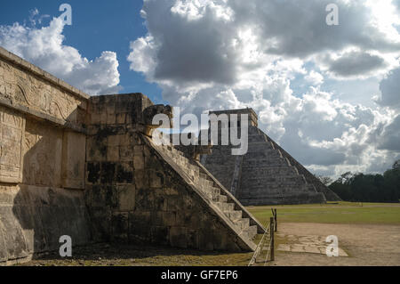 Mayan Pyramid of Kukulkan 'El Castillo' as seen from the Platform of the Eagles and the Jaguars, Chichen Itza, Mexico. - Stock Photo