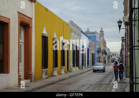 CAMPECHE, MEXICO -  01 january 2010: downtown street with typical colonial buildings in Campeche, Mexico. - Stock Photo