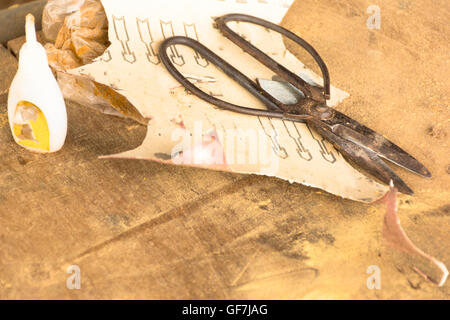 Carpenter tools on wooden table in workplace. - Stock Photo