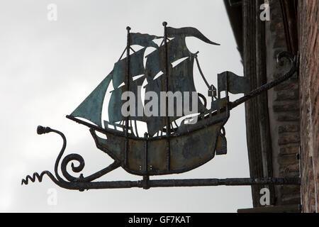 UK, England, Norfolk, King's Lynn, Bridge Street, old ship Greenland Fishery pub sign in whaling quarter - Stock Photo