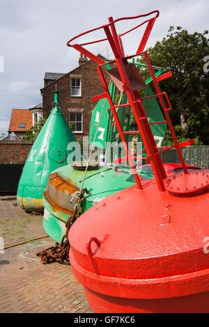 UK, England, Norfolk, King's Lynn, Purfleet Quay, navigation buoys - Stock Photo