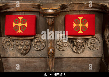UK, England, Norfolk, King's Lynn, St Margaret's Minster Church, Misericords, shield charged six escallop shells - Stock Photo