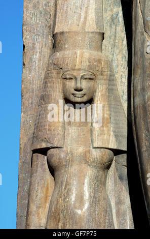 Quartzite statue of Tiye or Teye wife of the pharaoh Amenhotep III, XVIII° dyn. recently discovered at Kom El Hetan, - Stock Photo
