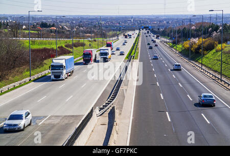 Four lane highway view on an overpass. - Stock Photo