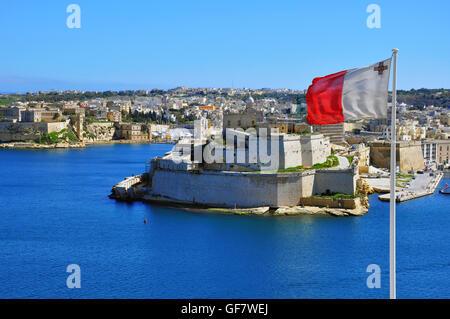 Maltese flag in Valletta and Senglea top view - Stock Photo