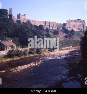 1960s, historical, Richmond Castle, a ancient Norman stone fortress sited on a rocky promontory above the River - Stock Photo