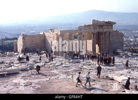 1960s, historical picture showing ancient ruins of the six-columned Propylaea, Athens, Greece, the gateway to the - Stock Photo