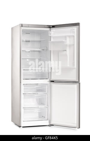 open empty refrigerator. vertical shot of a new empty and open refrigerator isolated on white background - stock photo g