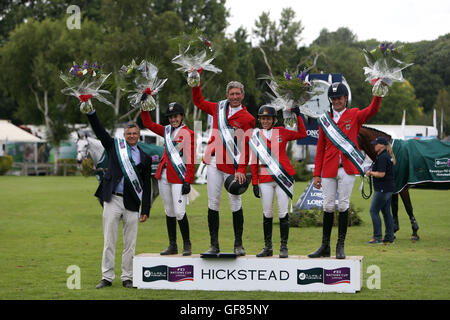 Germany win the Furusiyya FEI Nations Cup during day four of the Longines Royal International Horse Show at Hickstead, - Stock Photo
