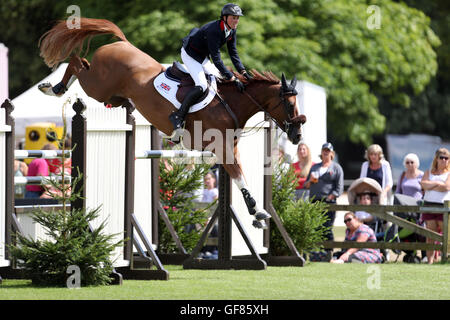 Great Britain's Ben Maher riding Diva II jumps in the Furusiyya FEI Nations Cup during day four of the Longines - Stock Photo