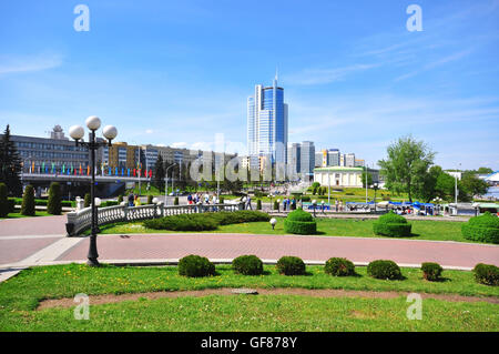 MINSK, BELARUS - MAY 1: View of a historical centre of Minsk on May 1, 2014. Minsk is a capital and the largest - Stock Photo