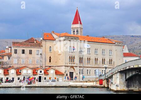 TROGIR, CROATIA - AUGUST 25: View of promenade in Trogir on August 25, 2012. - Stock Photo