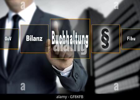 Buchhaltung (in german accounting, balance, financial accounting, profit)  touchscreen concept background. - Stock Photo