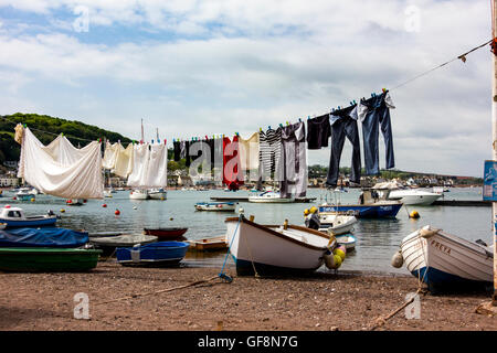 Drying in the Breeze - Beach Side Washing Line, With View of the River Teign and Shaldon; Teignmouth Back Beach, - Stock Photo
