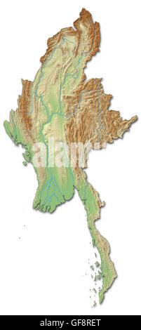 Relief map of Myanmar with shaded relief. - Stock Photo