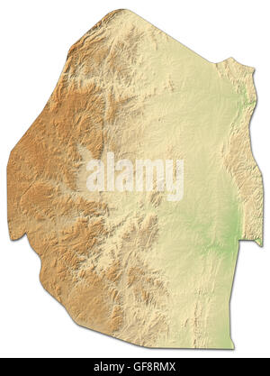 Relief map of Swaziland with shaded relief. - Stock Photo