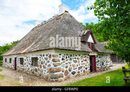 Odense, a traditional house in the Funen farming village - Stock Photo