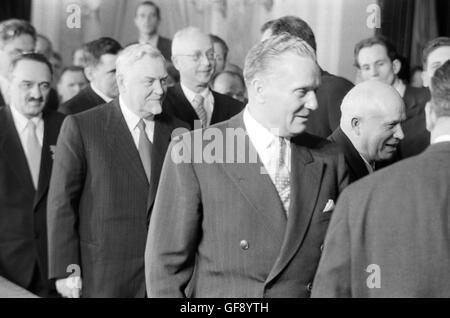 Anastas Mikoyan, Nikolai Bulganin, Josip Tito, and Nikita Khrushchev - Stock Photo