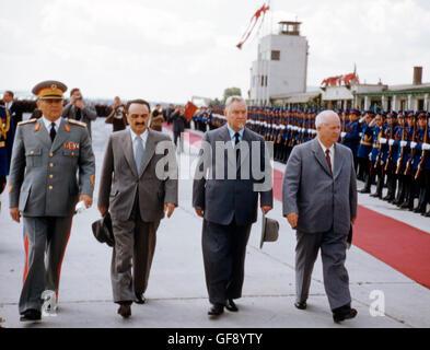 Josip Tito, Anastas Mikoyan, Nikolai Bulganin, and Nikita Khrushchev - Stock Photo