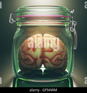 Human brain in glass jar, illustration. - Stock Photo