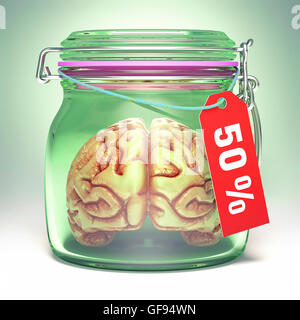 Human brain in glass jar with sale label, illustration. - Stock Photo