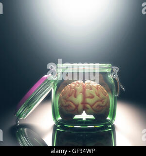 Human brain in glass jar with lid open, illustration. - Stock Photo