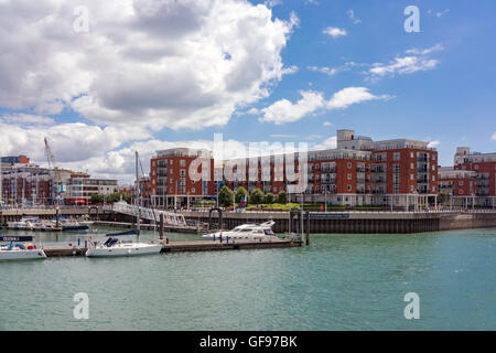Gunwharf  Quays skyline in Portsmouth on a warm July day - Stock Photo