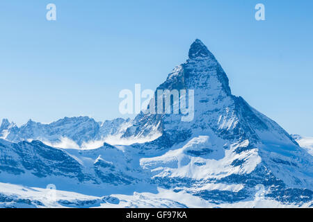 Shot of the famous Matterhorn mountain, one of the highest peaks in Europe, and the mountain featured on Toblerone - Stock Photo