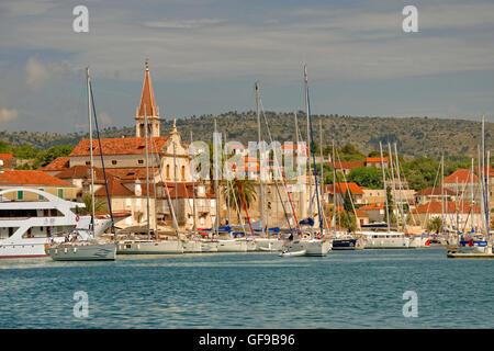 Cruising yachts berthing in the town of Milna on the island of Brac, Croatia. - Stock Photo