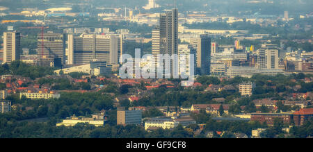 Aerial view, skyline food with RWE Tower, Evonik-office building, headquarters, Post skyscraper, view from Fischlaken, - Stock Photo