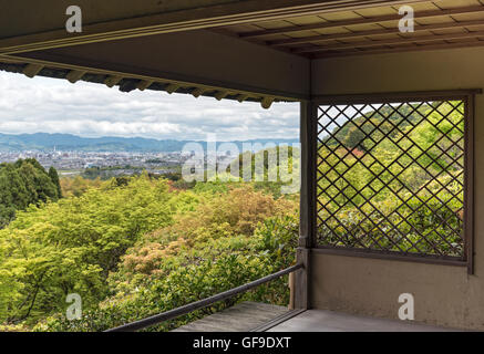 View of Kyoto city from tea house in Okochi Sanso park, Kyoto, Japan - Stock Photo