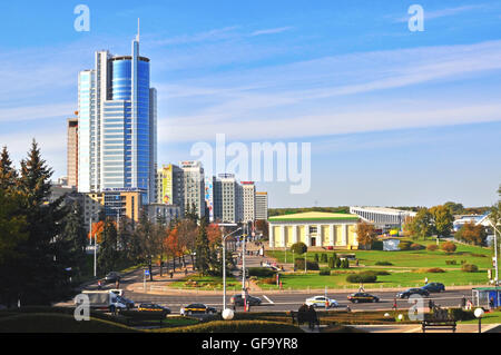 MINSK, BELARUS - OCTOBER 3: View of a city centre of Minsk on October 3, 2014. Minsk is a capital and the largest - Stock Photo