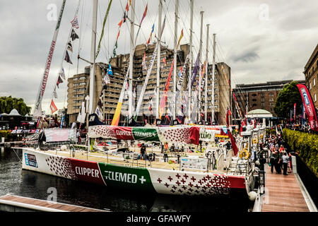 London, UK. 30th July, 2016. Boats and crew  taking part in the biennial Clipper Round the World yacht race  return - Stock Photo