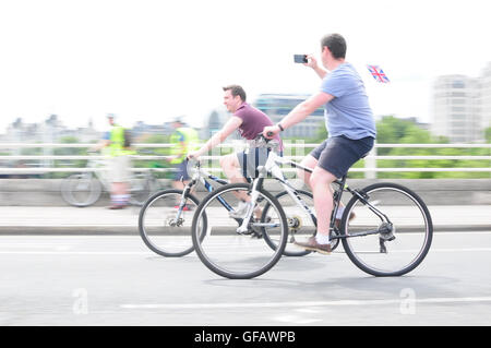 London, UK. 30th July, 2016. Cyclists during the Prudential Free Cycle Ride London 2016 Credit:  streets.life/Alamy - Stock Photo