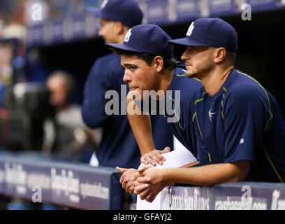 St. Petersburg, Florida, USA. 30th July, 2016. Tampa Bay Rays starting pitcher Matt Moore (55) and Tampa Bay Rays - Stock Photo