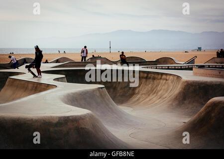 The Venice Skate Park, in Venice Beach, Los Angeles, California. - Stock Photo