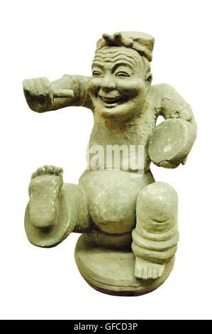 Wu Hou Shrine, Chengdu, China. Museum of The Three Kingdoms Culture. Pottery figurine dancing for joy. Han Dynasty - Stock Photo