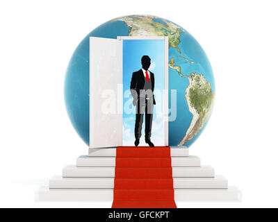 Businessman standing on the red carpet leading to the open door. 3D illustration. - Stock Photo
