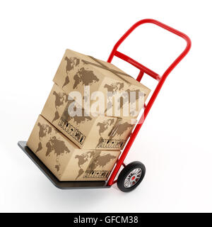 Cardboard boxes with earth shape on truck hand trolley. 3D illustration. - Stock Photo