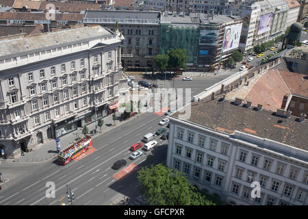 view south south east down to Bajcsy-Zsilinszky from St Stephen's basilica - Stock Photo