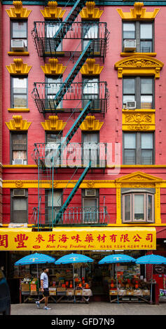 Manhattan's Chinatown is a neighborhood in Lower Manhattan, New York City. - Stock Photo